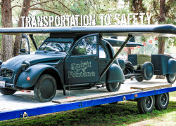 Transportation to Safety comparing cars, trucks, vans, SUV's and various RV's
